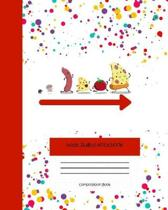 Wide Ruled Notebook Composition Book: Cute Novelty Gift for Girls Boys Teens & Kids. 8'' x 10'' 120 Pages. Pizza Themed Vol 1
