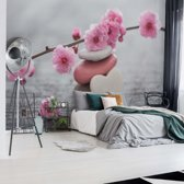 Fotobehang Spa Pebbles And Cherry Blossom Flowers | V8 - 368cm x 254cm | 130gr/m2 Vlies