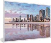 Foto in lijst - De stedelijke horizon van de Australische Gold Coast in Queensland fotolijst wit 60x40 cm - Poster in lijst (Wanddecoratie woonkamer / slaapkamer)