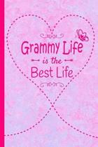 Grammy Life Is The Best Life: Grandma Journal 120 page Lined Pink Marble Notebook Butterfly Heart Design for Daily Diary Writing or Notepad - Perfec