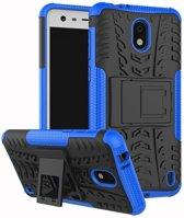 Nokia 2 hoesje - Rugged Hybrid Case - blauw
