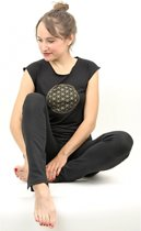 Yoga T-shirt - Flower of life - Zwart - Maat M
