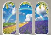 Fotobehang Lavendar Field Nature Arches | XXXL - 416cm x 254cm | 130g/m2 Vlies