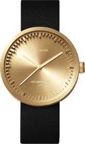 LEFF amsterdam tube watch D42 LT72021 - Brass - Black leather strap - Horloge - Leer - Goud/Zwart - Ø 42mm
