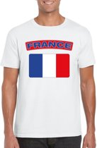 Frankrijk t-shirt met Franse vlag wit heren 2XL