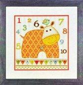 Borduurpakket Baby Hippo 123