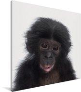 Chimpansee - Portret dierenprint kinderkamer Canvas 50x50 cm - Foto print op Canvas schilderij (Wanddecoratie woonkamer / slaapkamer)