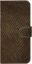 ★★★Made-NL★★★ Handmade Echt Leer Book Case Voor Samsung Galaxy A10s Bruin leder met reptielenprint. Heeft een wat ruige uitstraling.