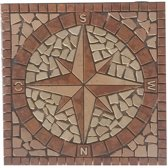 Marmer mozaiek tegel medallion windroos rood 60 x 60 cm