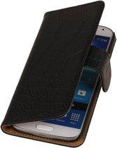 Samsung Galaxy S Hoesje Krokodil Bookstyle Zwart