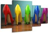 Schilderij | Canvas Schilderij Schoenen, Vrouw | Bruin, Groen, Geel | 160x90cm 4Luik | Foto print op Canvas