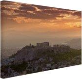 FotoCadeau.nl - De Akropolis bij zonsondergang Canvas 60x40 cm - Foto print op Canvas schilderij (Wanddecoratie)