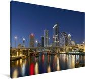 De horizon van Tampa met de Hillsborough-rivier in Amerika Canvas 120x80 cm - Foto print op Canvas schilderij (Wanddecoratie woonkamer / slaapkamer)