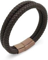 Leren armband 22,5cm man vrouw Galeara design Atos bruin met magnetische clip
