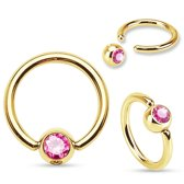 Tepelpiercing ring gold plated roze steentje
