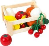 Houten Krat (klein) Gevuld met Fruit en Groente