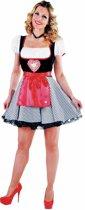 Luxe oktoberfest jurkje met groot hart, vast schort en vast bloesje - Bierfeest kleding dames maat 50/52 (XXL)