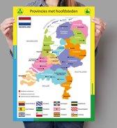 Poster kaart Nederland met provincies en hoofdsteden