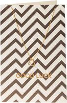 Orelia ketting ORE20093 - giftcard - ketting kort met open hartje Good Luck  - goudkleurig - 40,5cm+5cm