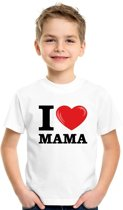 Wit I love Mama t-shirt kinderen XS (110-116)