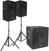 Vonyx 2.1 geluidsinstallatie 1100W met 15 actieve woofer, twee 10 tops, set statieven en kabels