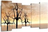 Canvas schilderij Bomen | Zwart, Geel | 150x80cm 5Luik