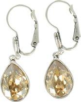 DOLCE LUNA stijlvolle set verzilverde oorhangers, 'gold drop'-model met goudbruin Swarovski