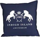Sierkussen 45x45 cm - Indigo Island Amsterdam - ''Galloway & Layton '' - linnen donkerblauw- Dons