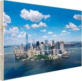 Luchtfoto van Manhattan Skyline Hout 120x80 cm - Foto print op Hout (Wanddecoratie)