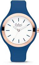 Colori Macaron 5 COL506 Horloge - Siliconen Band - Ø 44 mm - Blauw