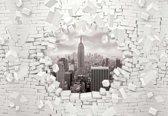 Fotobehang New York City Skyline Brick | XXL - 312cm x 219cm | 130g/m2 Vlies