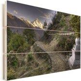 Zonsopgang aan Mount Everest in Nepal Vurenhout met planken 90x60 cm - Foto print op Hout (Wanddecoratie)