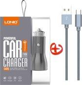 LDNIO - Premium Snellader Auto Lader met 2 USB Poorten met Micro USB Oplaad Kabel - Qualcom 3.0 aansluiting