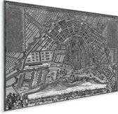 Zwart witte en historische stadskaart van Amsterdam Plexiglas - Plattegrond 80x60 cm - Foto print op Glas (Plexiglas wanddecoratie)