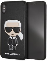 Karl Lagerfeld Backcover hoesje Zwart - Cool Karl - TPU - iPhone Xs Max  - Siliconen rand