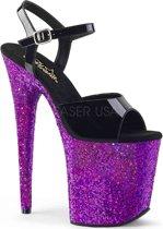 EU 37 = US 7 | FLAMINGO-809LG | 8 Heel, 4 PF Ankle Strap Sandal w/ Glitter Bottom