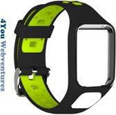 Zwart Groen bandje voor Tomtom Adventurer, Tomtom Spark, Tomtom Spark 3, Tomtom Runner 2, Runner 3 - Golfer 2 - horlogeband - polsband - strap - Zwartgroen