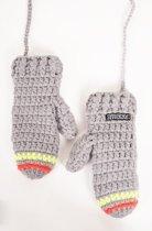 Poederbaas gehaakte wanten - grijs/geel/oranje, kleurrijke handschoenen, fashion wanten