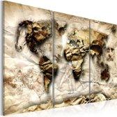 Schilderij - Wereldkaart , Wereld van de Wetenschap , 3 luik