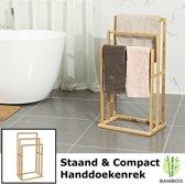 Vrijstaand handdoekenrek voor badkamer – Staand handdoekrek van bamboe hout – Handdoek droogrek met 3 armen - Handdoekrek - Decopatent®