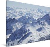 Luchtfoto van een winterlandschap Canvas 180x120 cm - Foto print op Canvas schilderij (Wanddecoratie woonkamer / slaapkamer) XXL / Groot formaat!