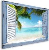 Tropisch Strand  - Schilderij 118 x 70 cm