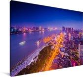 Luchtfoto Wuhan Canvas 90x60 cm - Foto print op Canvas schilderij (Wanddecoratie woonkamer / slaapkamer) / Aziatische steden Canvas Schilderijen