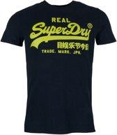 Superdry Vintage Logo Neon Lite  Sportshirt - Maat S  - Mannen - donker blauw/groen