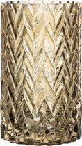 Bloomingville - Vaas - Glas Relief - Bruin - D11,5xH20 cm