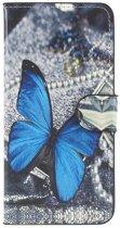 Blauw vlinder agenda wallet hoesje Huawei P20