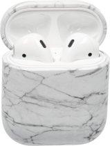 Bescherm Hoesje Hard Case Cover Wit Marmer voor Apple AirPods 1 en 2