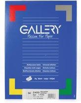 6x Gallery witte etiketten 70x36mm (bxh), rechte hoeken, doos a 2.400 etiketten