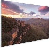 Zonsondergang bij Nationaal park Blue Mountains in NSW Plexiglas 60x40 cm - Foto print op Glas (Plexiglas wanddecoratie)
