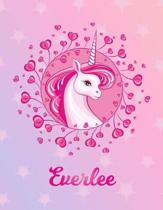 Everlee: Unicorn Large Blank Primary Handwriting Learn to Write Practice Paper for Girls - Pink Purple Magical Horse Personaliz